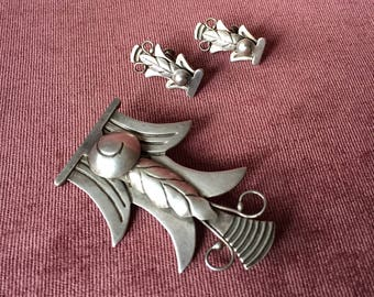 1940s Ana Nunez Brilanti Victoria Mexico Sterling Silver Set//Vintage Silver Brooch and Earrings/Taxco Jewelry/Mid Century Modernist