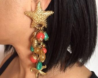 RARE Vintage Kirks Folly Starfish Earrings//1980s Jewelry//Seashell Starfish Seahorse//Fantasy Jewelry//Gold Tone Earrings//Animal Jewelry