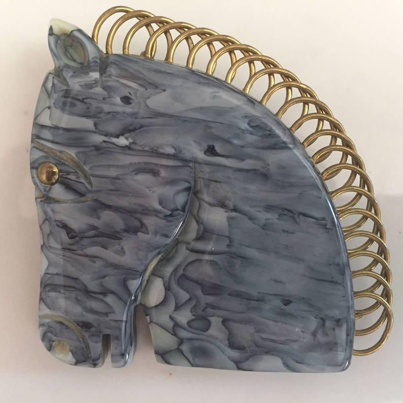 Vintage Galalith Horse BroochFrench BakeliteGray Horse PinVintage BakeliteAnimal JewelryNovelty Jewelry