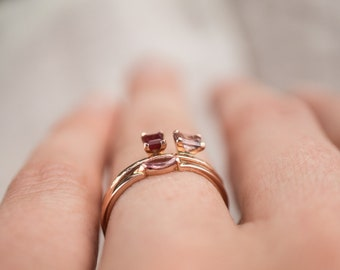 Dainty floating gold stacking ring with ruby