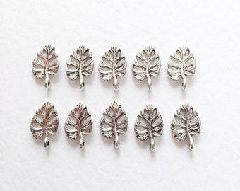 10 x Antique Silver Fern Leaf Charms