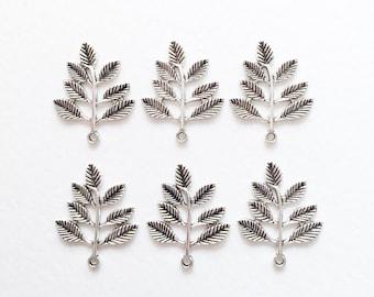 6 x Antique Silver Fern Leaf Charms