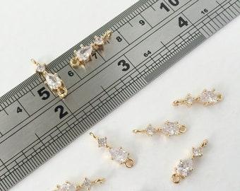 2 x Cubic Zirconia Flower Connector Gold Flower Connector Crystal Flower Connector Earring Making Supplies 0011