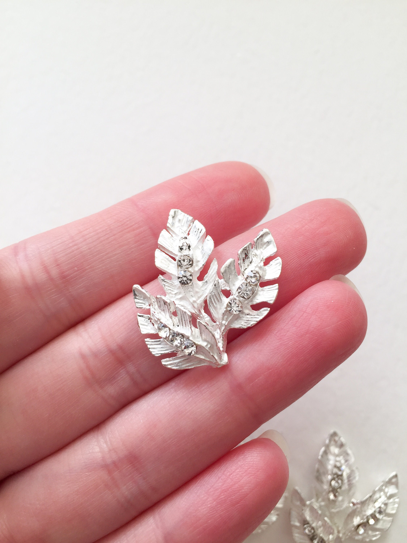 4 x Bright Silver Diamante Leaf Embellishments Silver Tone | Etsy