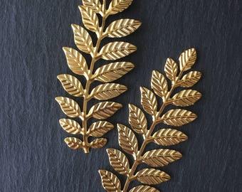 2 x Gold Fern Leaf Embellishments