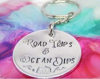 ROAD TRIPS Keyring, Camper, Van, Sea Swimming, Ocean Dips, Waves, Wild Swimming, Birthday Gift, Just Because, Friend,