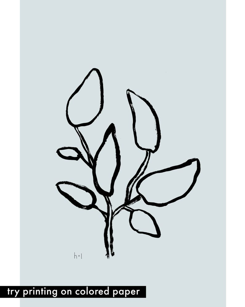Digital Download Foliage Art Magnolia Leaves Poster Instant Download Black and White Illustration Brushstroke Hand drawn Line Drawing