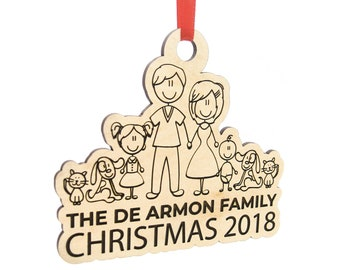 Custom Engraved Family Christmas Ornament - Customized Wooden Ornaments for Xmas Gifts - Unique Gift Idea for Family
