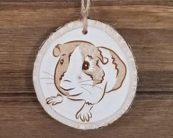 Custom Pet Portrait Ornament on Basswood Wood Slice with Bark - Personalized Gifts for Cat, Dog, Guinea Pig, Bird, Fish Pet Owner - Pet Gift