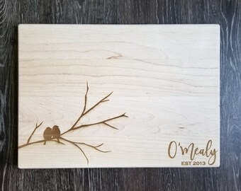 "Custom Engraved Family Name Cutting Board - Two Birds on a Tree Branch - 10x14"" Maple - Gift Idea for Wedding, House Warming, Closing Gift"