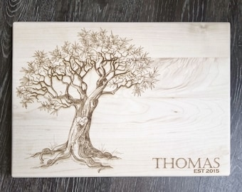 "Custom Engraved Family Name and Initials on Tree Cutting Board - 10x14"" Maple - Personalized Gift Idea for Newly Weds, Couple, etc."
