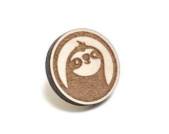Sloth Pin - Gift Idea for People Who Love Sloths - Made out of Wood
