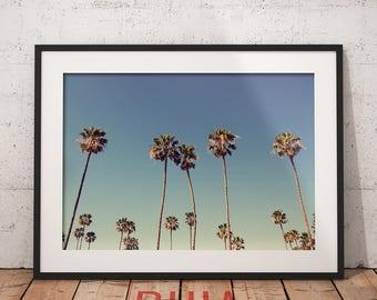 Palm Tree Print, Beach Decor, Wall Art Print, Modern Beach, Aqua Blue, Coastal, Minimalist Photography, Printables, #PalmTreesCollection Nº1