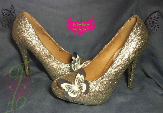 Butterfly Dreaming shoes rose gold glitter high heels butterfly shoes customised colours biodegradable glitter