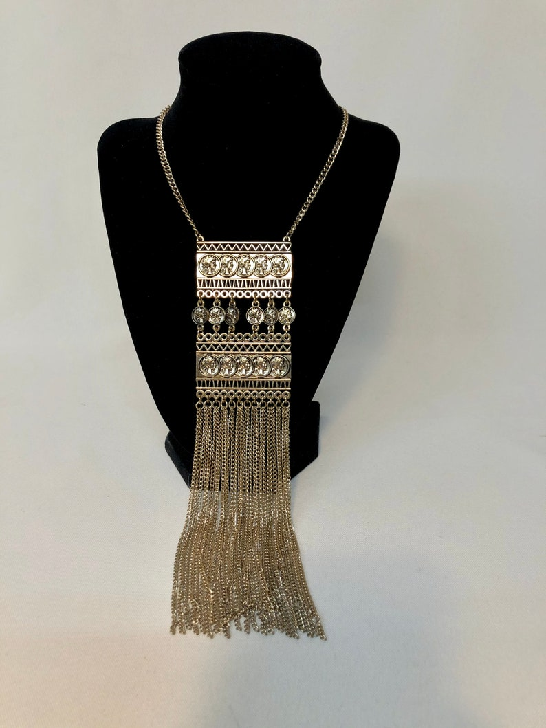 Day or night vintage 1970s Fabulous 70/'s long chain necklace with coins tassle Multi chain perfection Gift for her