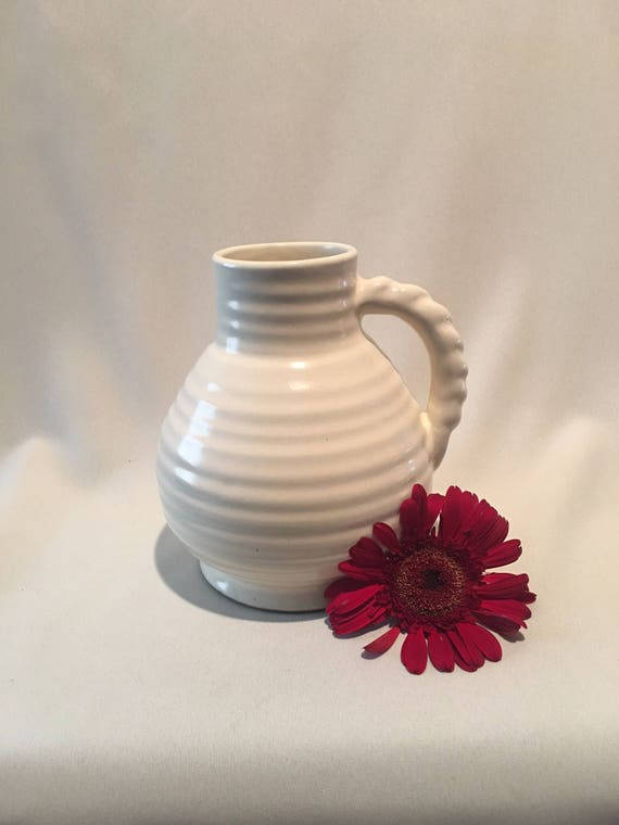 Bourne Denby Derby Ribbed Pitcher Or Vase Ivory White Etsy