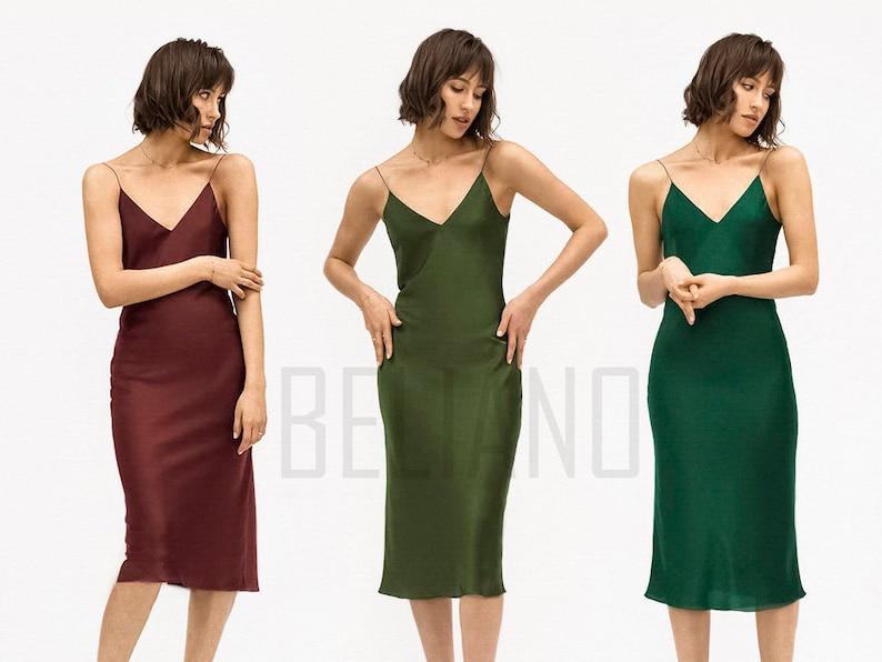 b80e2fb9b31da MANY COLORS Silk dark green Dress/ Green Slip Dress/ Silk Slip Dress  midi/Silk Slip/Natural Slip 90s silk slip midi Silk dresses Silk Outfit