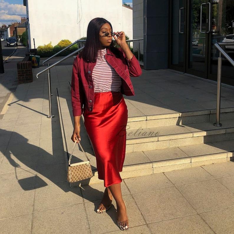 f8d3317c93d05 Red Silk skirt midi long Fall trend looks street style women slip silk bias  skirt fall colors silk satin silk A-line wear Beliano