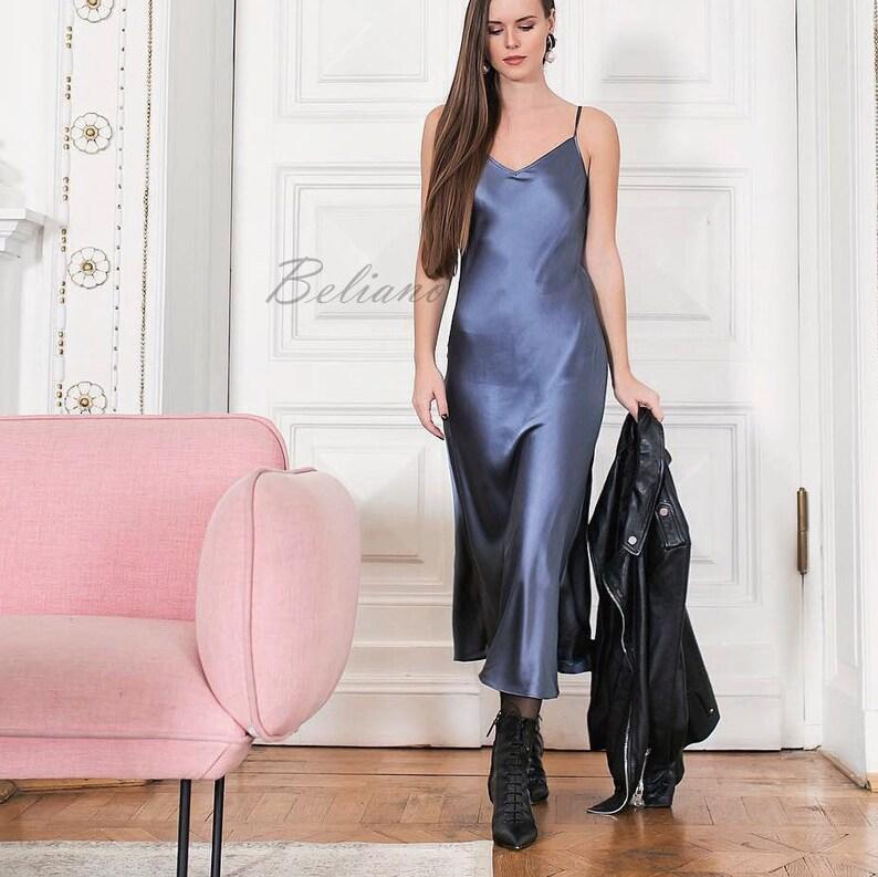 d4f65bb873764 Silk pale blue slip dress bridesmaid slip dress midi long 90s slip dress  bias prom dress date event dress midi gown Natural silk satin slip