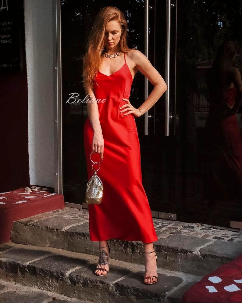 b69f9cefab5b3 Silk Red Dress/Red Slip wrap Dress/ Silk bias Slip midi/ Long Silk  Slip/Natural Sexy Slip 90s midi long Women Silk dresses gift for her