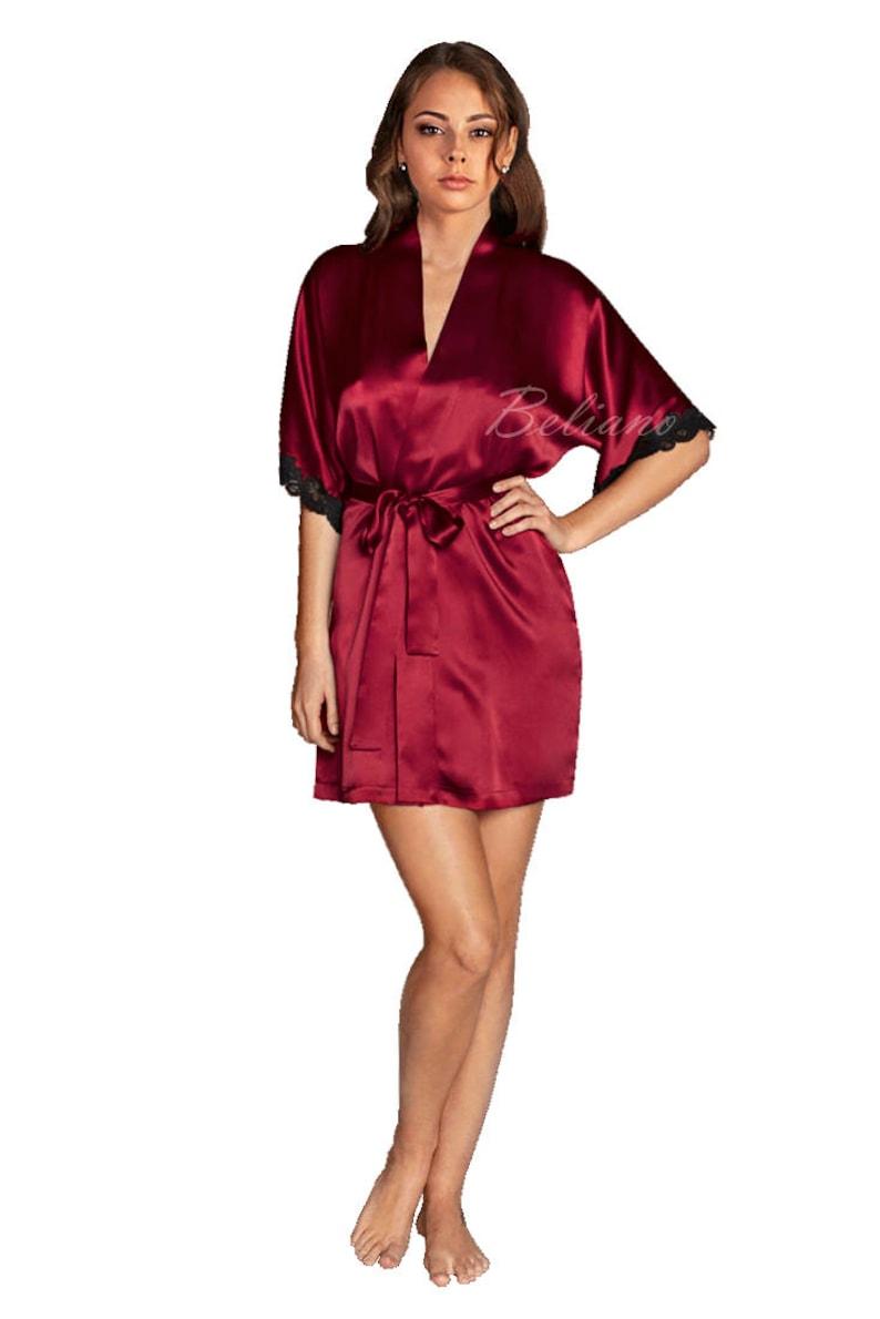 Natural Silk short red Robe Kimono Silk Bathrobe silk Gown  40b0e64d0