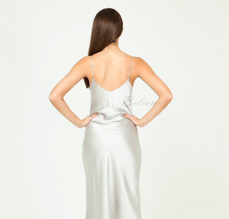 d3e4eccbb9c0a Organic Silk Slip Dress/Silk Slip Grey Silver/Sexy Midi Long slip dress  Midnight Gray Camisole natural Silk Women clothing 90s Thin Straps