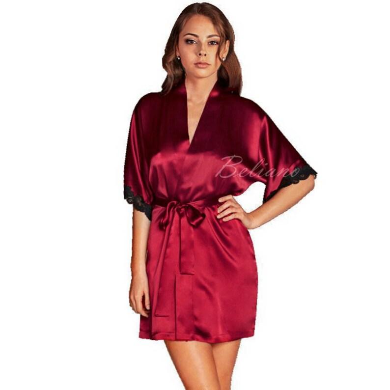 Natural Silk short red Robe Kimono Silk Bathrobe silk Gown  733715cef