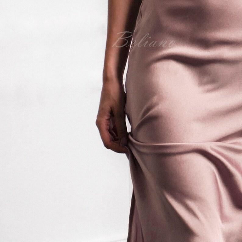 c508f6a138d6 Beige Rose Silk Skirt Fall trends silk slip skirt Midi long   Etsy