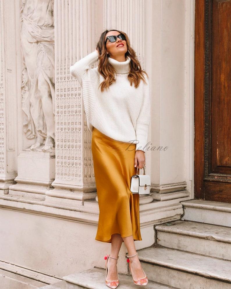 e01d8c5ccc06e Silk skirt midi long fall look yellow a-line skirt outfit Silk slip bias  saffron wear street style looks Silk fall trends long women skirt