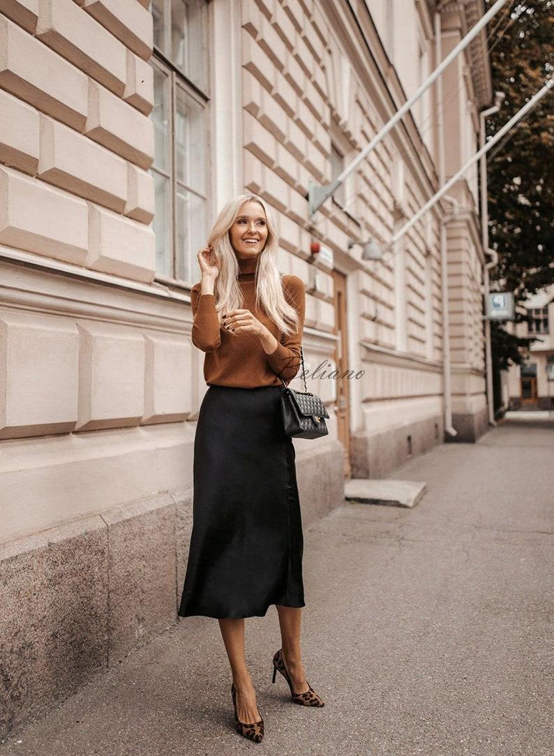Silk skirt midi long fall look black a-line skirt outfit Silk image 0