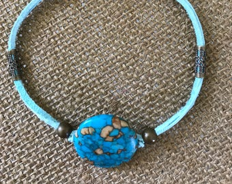 Suede & turquoise bracelet