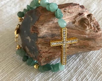 """Aqua beaded bracelet with curved cross and gold    7 3/4"""""""