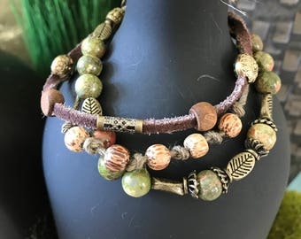 Triple strand, Brown, green and antique brass, boho chic