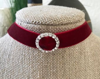 "5/8"" Deep Red velvet choker with circle crystal buckle"