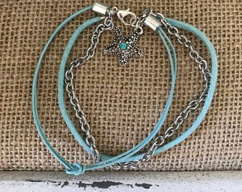 Aqua multi strand bracelet.  Suede, hemp and silver chain with starfish charm.  8""
