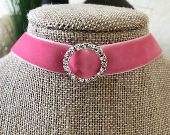 "5/8"" Pink velvet choker with round crystal shape buckle."