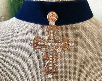 """1"""" Gorgeous Navy Blue velvet choker with brass colored cross with crystals."""