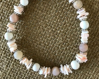 blush pale pink beaded and shell bracelet