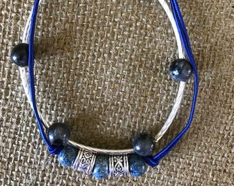 """Blue lapis and silver double strand.  8 1/4"""""""