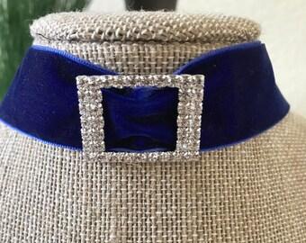 "1"" Gorgeous Royal Blue velvet choker with crystal buckle"