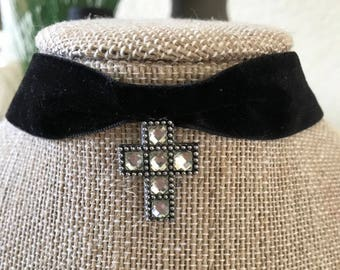 7/8' Black velvet choker with silver and crystal cross pendant