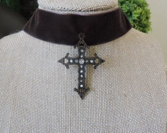 "1"" Dark Brown velvet choker with antique brown cross with crystals"