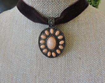 "5/8"" Brown velvet choker with statement piece light orange  drop pendant."