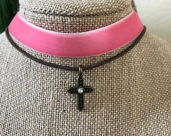 "5/8"" pink velvet and brown suede choker with antique bronze cross pendant"