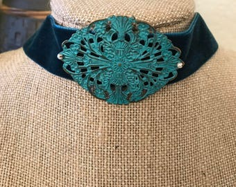 "1"" Deep Teal suede choker with turquoise filigree pendant with pearl accents"