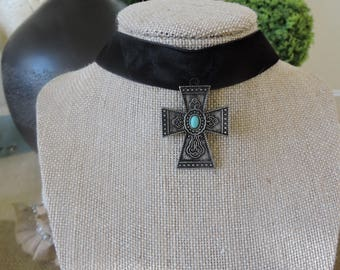 "1"" Black velvet choker with antique silver cross with turquoise stone accent"