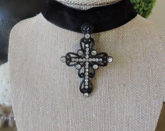 "Beautiful 1"" Black velvet choker with statement piece black and rhinestone drop cross pendant."