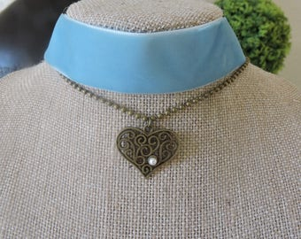 """1"""" light blue velvet choker with drop down chain and heart pendant with pearl accent"""
