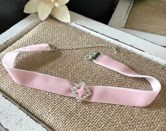 "5/8"" Pale lush pink velvet choker with crystal diamond shape buckle"