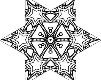 Star Coloring Page for Adults